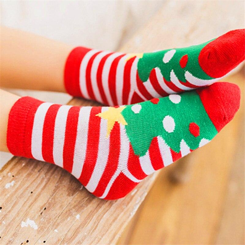 1 Paar Baumwolle Frühling Winter Herbst Baby Jungen Mädchen Kinder Socken Kinder Striped Terry Schneeflocke Elch Santa Claus Weihnachten Socken