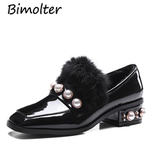 Bimolter Women Cow Leather Rabbit Fur Lining Winter Warm Shoes Fashion Sweet Pearl Med Heels Girls Pumps Party Wedding LCEB010