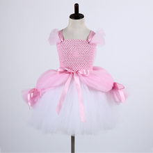 Fancy Princess Ariel Under The Sea Kid Big Bow Tutu Party Dress for Girl Pink White Sleeveless Round Collar Polyester Mesh