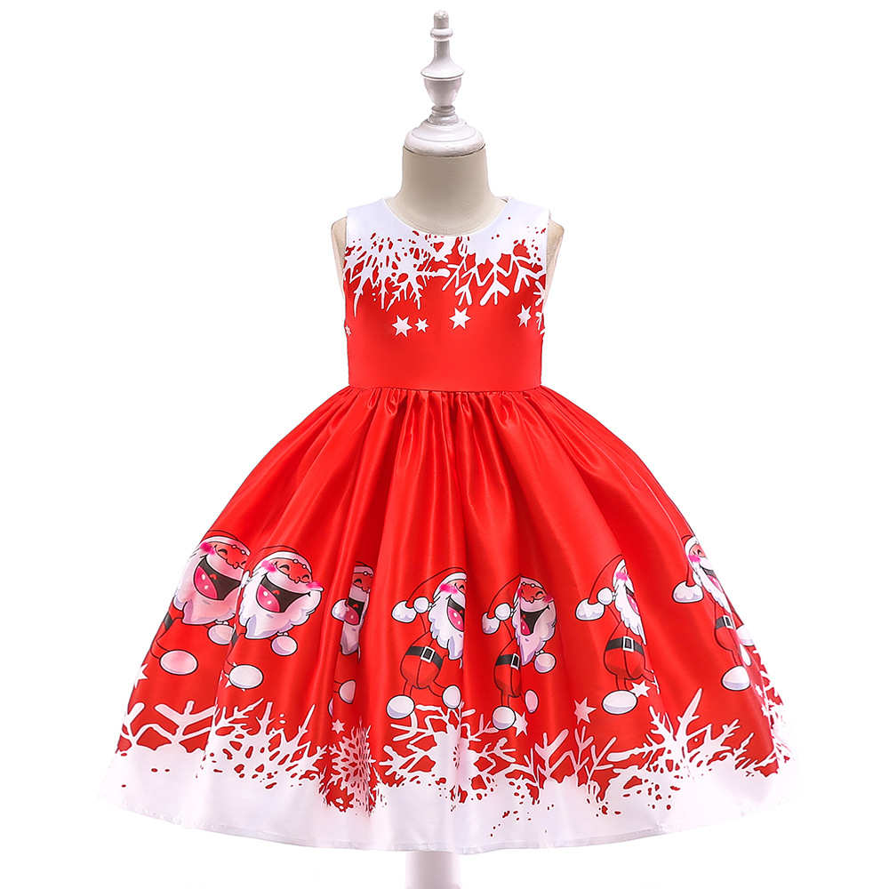 Free shipping girls Christmas deer snowflake dress Santa claus Antique Lace satin print princess dress new year party JQ-2000