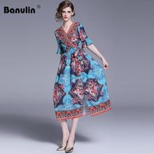 Banulin 2019 Summer High Quality Runway Women Boho Maxi Dress Short Sleeve Designer Floral Print Sash Slim Holiday Long