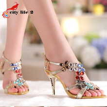 Rhinestone font b Women b font Pumps New Spring 2015 Diamond Sandals Genuine Leather Shoes High
