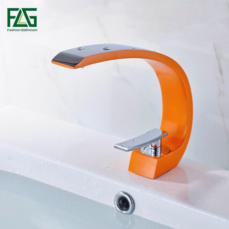 FLG Top Sale Basin Faucet Orange Color Griferia Lavabo C Type Chrome Cast 2 Villa Cold Hot Basin Water Mixer Bath Tap 113-11JC