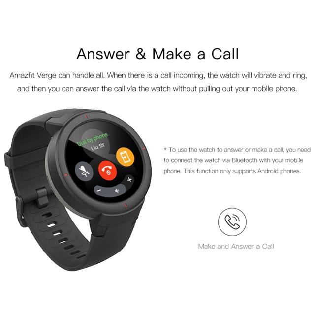 [English Version]Amazfit Verge Watch Smart 3 Sport Watch Phone Call GPS Smartwatch IP68 5-DAY BATTERY LIFE PHONE CALLS