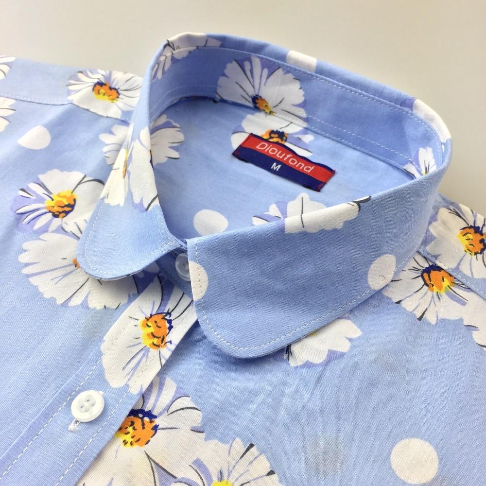 Dioufond Qadın Çiçək Bluzları Pambıq Güllü Xanımlar Yaz - Qadın geyimi - Fotoqrafiya 5