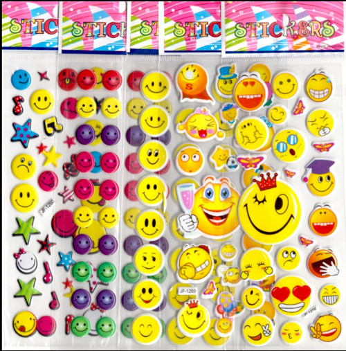 20pcs/lot cartoon cute smile face 3D foam stickers boys girls preschool award game toys party supplies game decoration kids gift