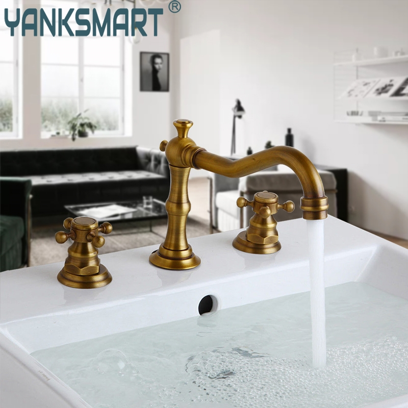 Bathroom Basin Faucet Antique Brass Finished Bathroom Basin Mixer Tap Sink Faucet Double Handles 3 pcs Bathroom Basin Faucet basin faucet solid brass rose gold finished 3 pcs gold faucet set 2 handles sink basin faucet basin tap bf033 a