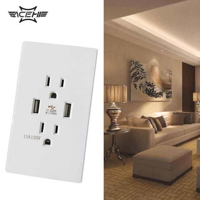 Acehe Us Dual Usb Ac Wall Receptacle Socket Outlet 5v 2a Wall Socket