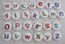 WB0110 Alphabet Buttons printed 100pcs mixed wooden buttons for children 20MM round button sewing accessories