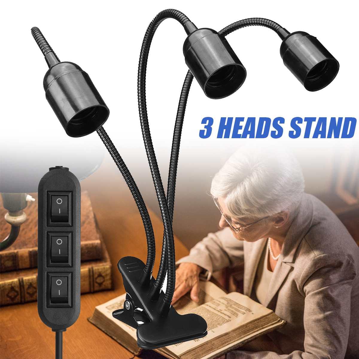 Flexible Plant Growth Light Base Stand 3 Heads Clip-On Desk Light E27 Bulb Stand Holder Kids Study Table Lamp Aquarium Lighting