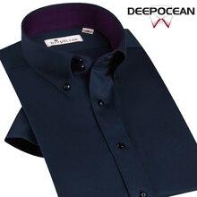 Лето Мерсеризованный хлопчатобумажная рубашка мужская рубашка с короткими рукавами мужской 100% легкий уход хлопка случайные тонкий тренд рубашка