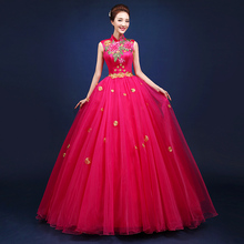 Китайский Стиль красный рукавов Стенд Цветы Вышивка платья певица Производительность вечерние хост костюмы