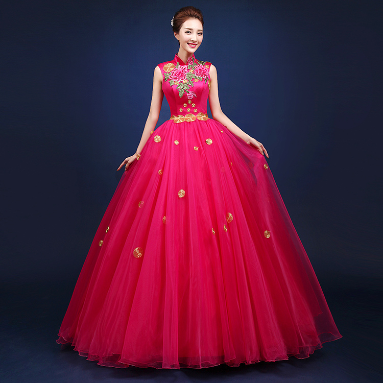 2016 Chinese Style Red Sleeveless Stand Flowers Embroidery Dresses Singer Performance Party Host costumes