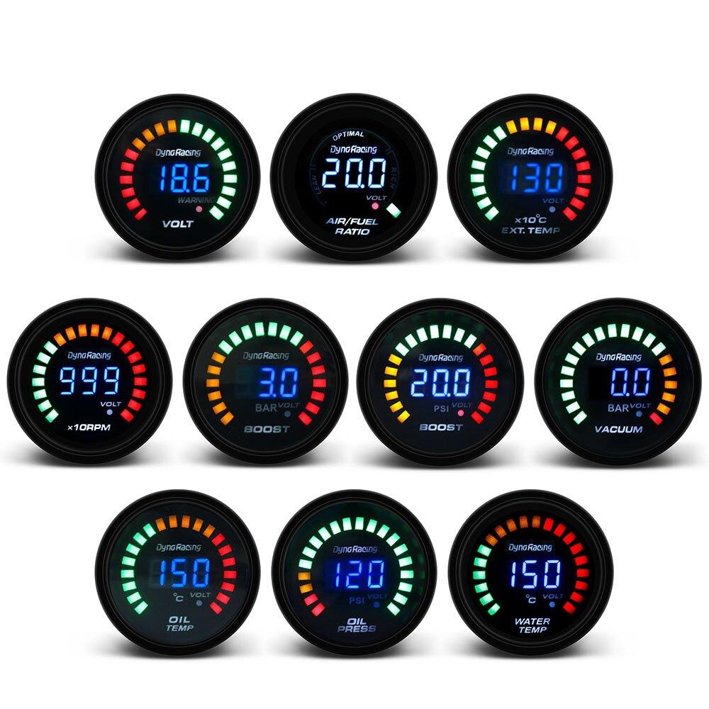 Цифровой вольтметр Dynoracing, измеритель температуры и температуры воды, для измерения температуры и температуры масла, 52 мм, 20 светодиодов