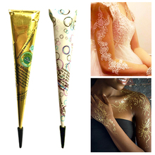 Drop Ship Indian Henna Pasta Tijdelijke Tattoo Waterdichte Body Paint hena Art Crème Kegel Voor Stencil Mehndi Body Art TSLM2(China)