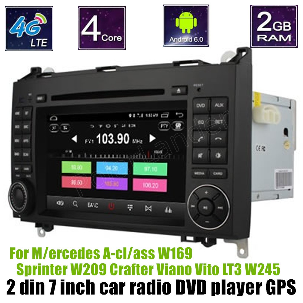 1024*600 Android 6.0 GPS Car DVD Player For B-ENZ A-cl/ass W169 S/printer W209 Crafter V ...