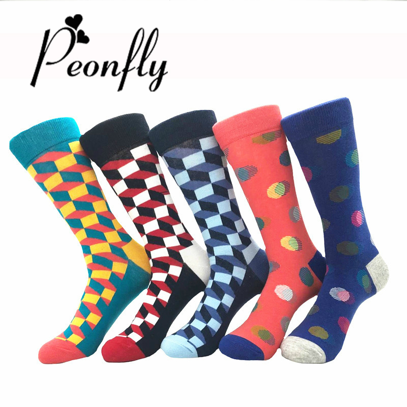 PEONFLY 5 Pairs/Lot Mens Socks Fashion Funny Colorful Long Socks Combed Cotton Happy Wedding Socks Casual Business Dress Sock