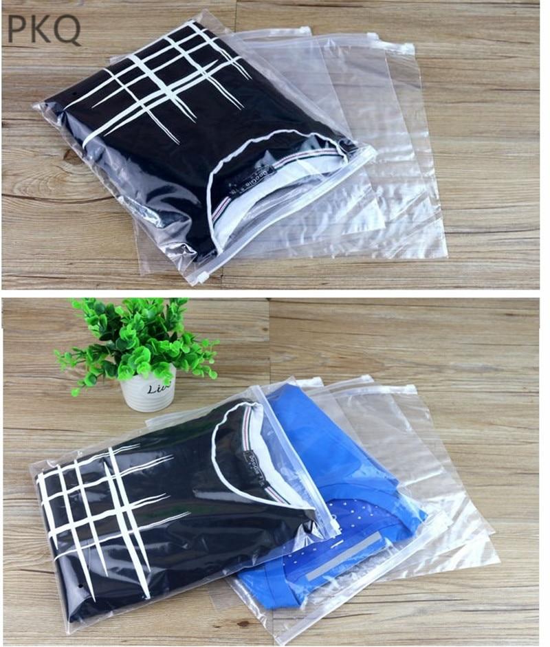 500pcs logo customized Clear Plastic Storage Bag Ziplock Travel Bags Zip Lock Valve Slide Cosmetic Clothes