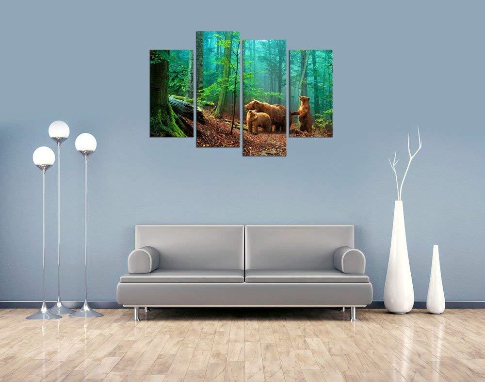 Холст стены Искусство форес зеленое дерево природа Картина Декор стены коричневые медведи семья в лесу готовы повесить картину Прямая поставка - 2