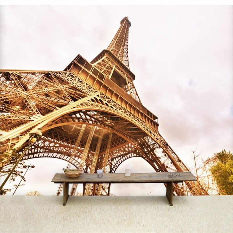 Custom 3D photo wallpaper Paris Eiffel Tower scenery wallpaper murals modern restaurant living room wallpaper for walls 3 d