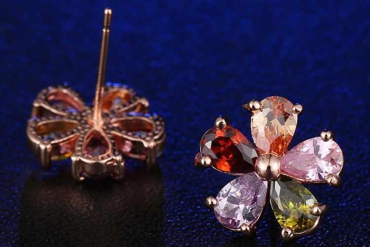 Multicolor Garnet Morganite Crystal Zircon Rose Telinga Perhiasan Anting-Anting M01-ER0175