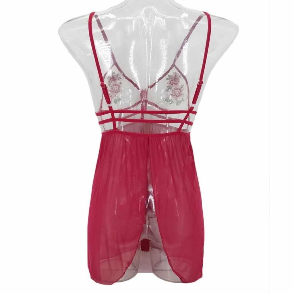 Ночное сексуальное платье пижамы Домашняя одежда для женщин; большие размеры Вышитые аппликация белье Красный Babydoll комплект прозрач