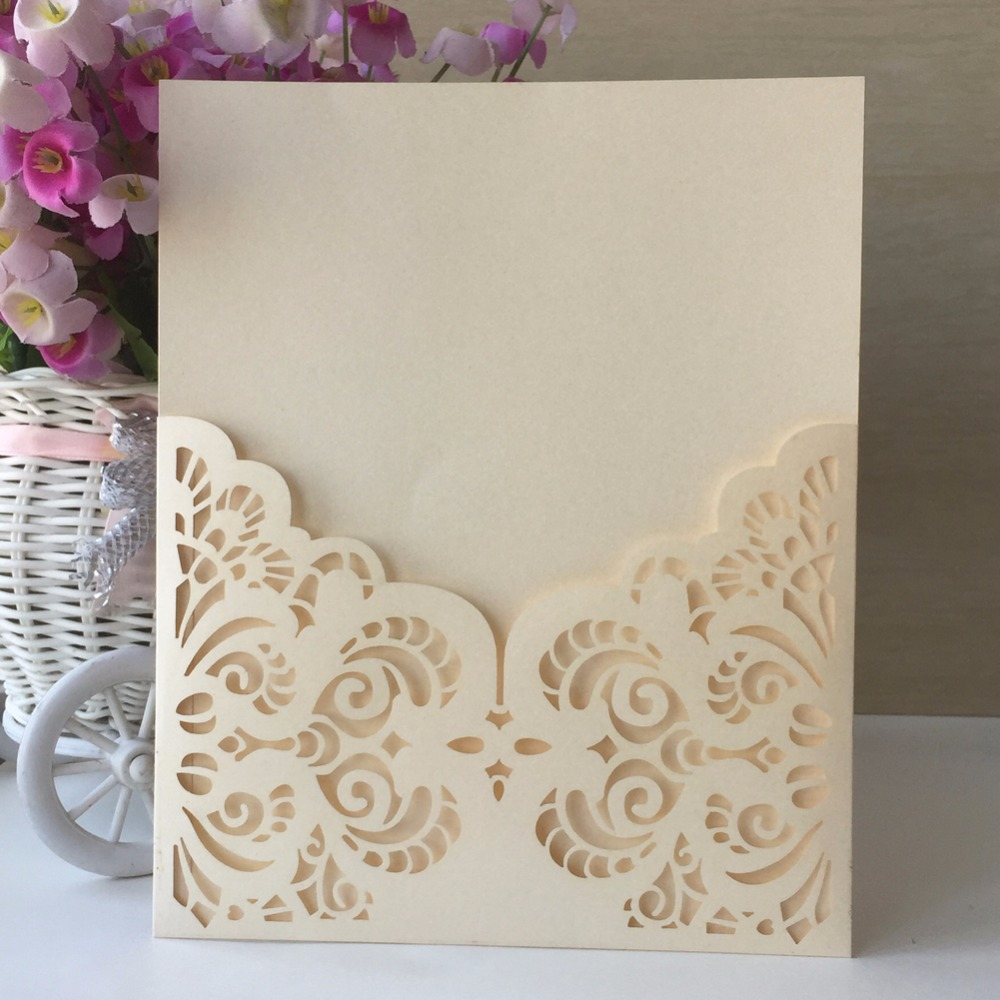 50pcs Laser cut Glamorous Wedding Invitations Decoration Card Place ...