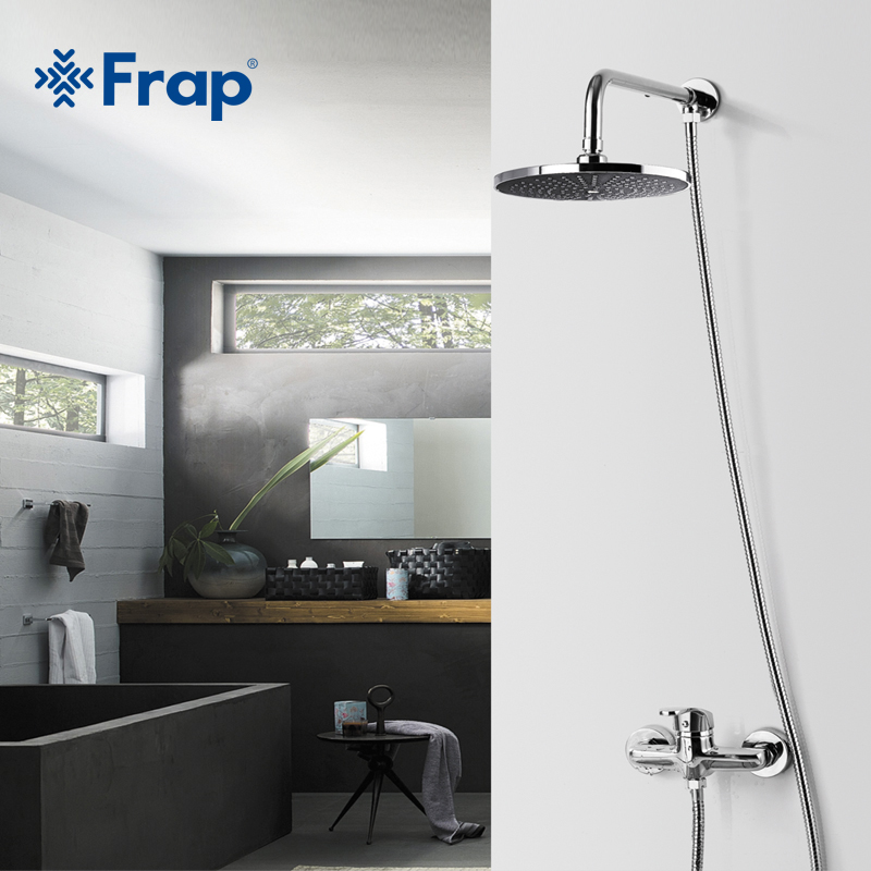 FRAP Hot Selling 200*200mm ABS Shower Head with Stainless Steel Arm Top Water Saving Overhead Rainfall Shower F2407 12 inch shower head with arm 300 300 stainless steel head shower with ceiling shower arm top water saving rain shower