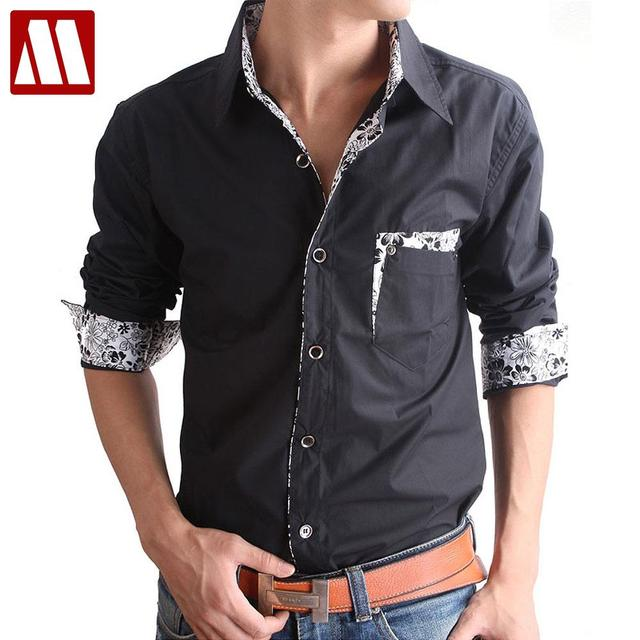 dcc67725f6a65b Big size Special New Style Mens Cotton slim long-sleeved shirt men s casual  flower patch