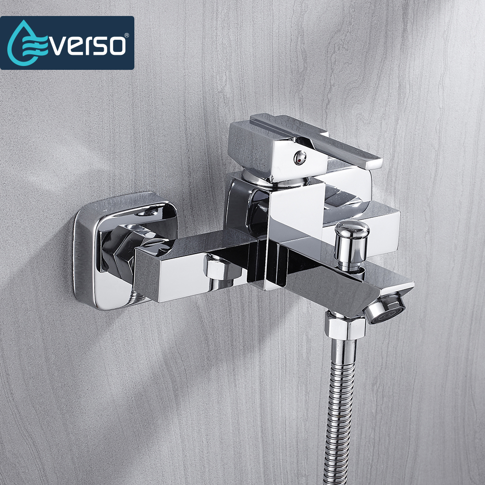 EVERSO Polished Chrome Bathroom Rainfall Shower Faucet set Single Handle Mixer Tap With Hand Sprayer Wall Mounted chrome polished rainfall solid brass shower bath thermostatic shower faucet set mixer tap with double hand sprayer wall mounted