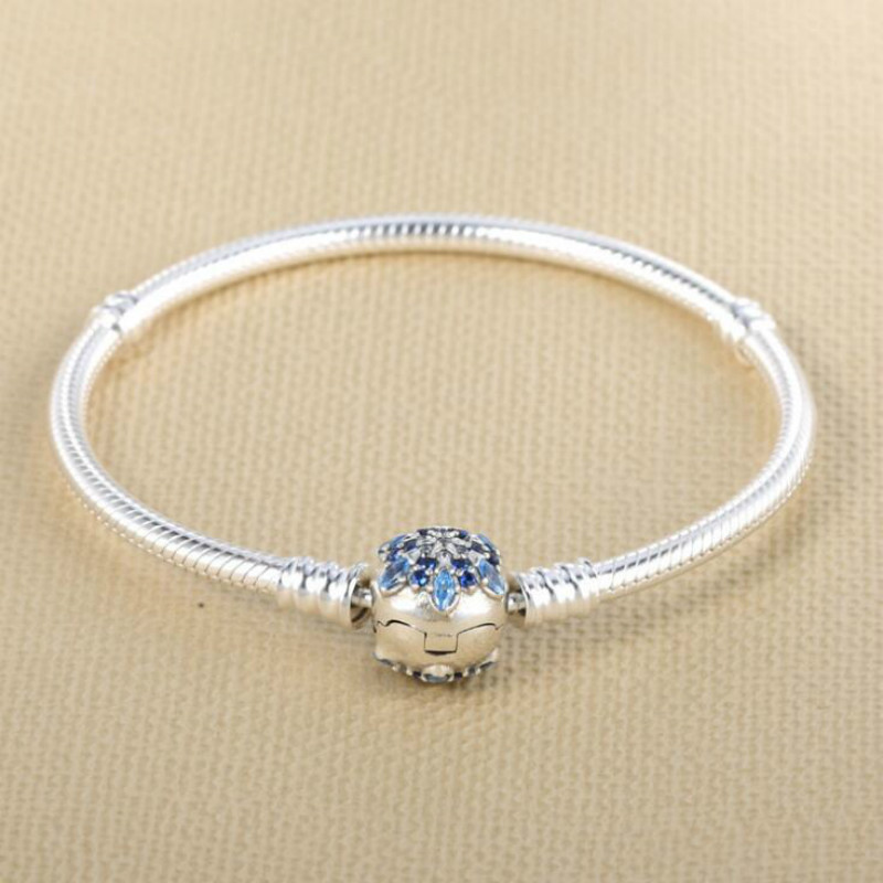 Europe et états-unis nouveau 925 bijoux en argent Sterling Bracelet bricolage Base chaîne bleu flocon de neige mode charme serpent chaîne