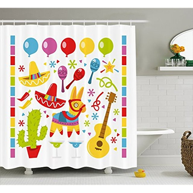 Vixm Fiesta Shower Curtain Mexican Party Cactus Musical Items And A Pinata Ethnic Inspirations Fabric Bath