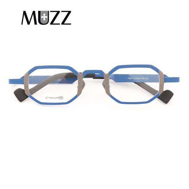 c55e579a0f MUZZ Super light Pure titanium frames eyeglasses men Optical small  geometric full rim Frame myopia Prescription Clear Lens wome