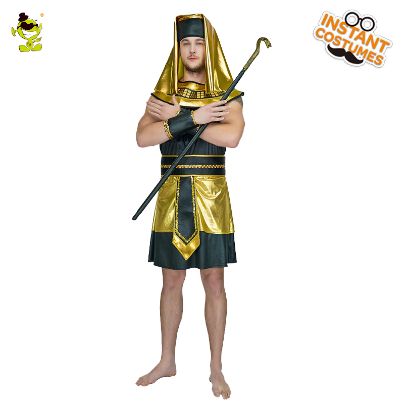 Purim Holiday Men's Egyptian Pharaoh Costume Cosplay Traditional Ancient Egypt Costumes Glod Egyptian Priest Costumes