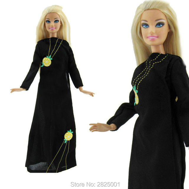 Fashion Black Dress Lemon Pattern Long Sleeves Split Skirt Princess Party Costume Muslim Clothes For Barbie  sc 1 st  AliExpress.com & Fashion Black Dress Lemon Pattern Long Sleeves Split Skirt Princess ...