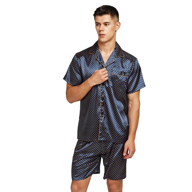 Tony&Candice Satin Silk Pajamas Shorts For Men Rayon Silk Sleepwear Summer Male Pajama Set Soft Nightgown For Men Pyjamas