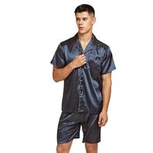 Tony&Candice Satin Silk Pajamas Shorts For Men Rayon Sleepwear Summer Male Pajama Set Soft Nightgown Pyjamas