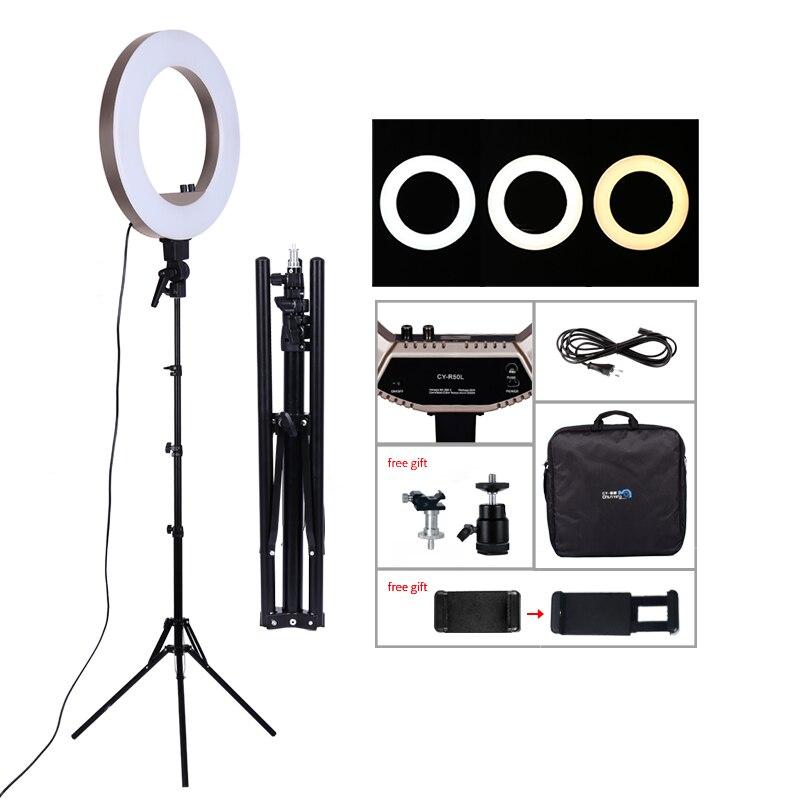18 дюймовый светодиодный осветительный прибор для сьемок 50 Вт 480 шт. светодиодный кольцевой светильник двухцветная лампа с 3200 K 5600 K Photo Studio макияж лампа для прямой трансляции видео