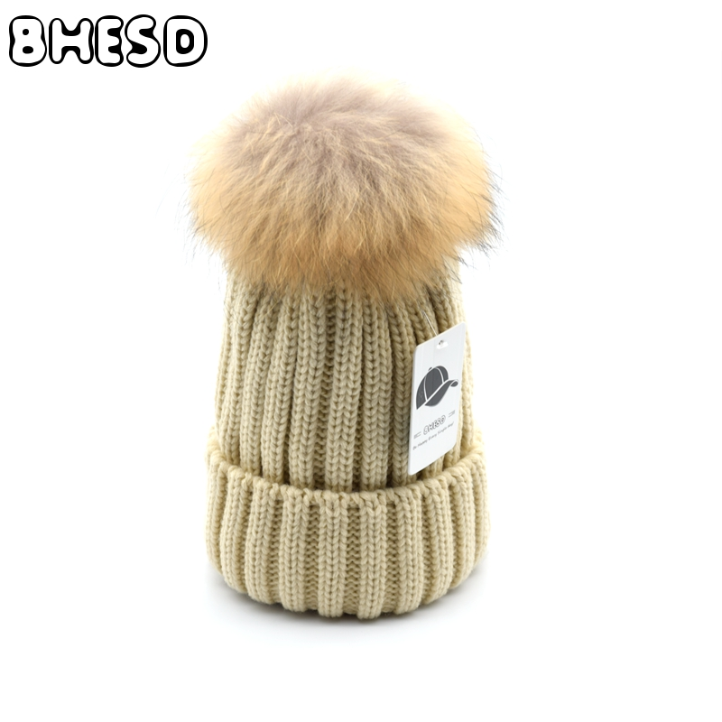 BHESD 2017 Real Raccoon Mink Fur Pompom Winter Beanies Hat Men Women knitted Wool Skullies Children Ski Gorros Cap Autumn TBone skullies beanies mink mink wool hat hat lady warm winter knight peaked cap cap peaked cap