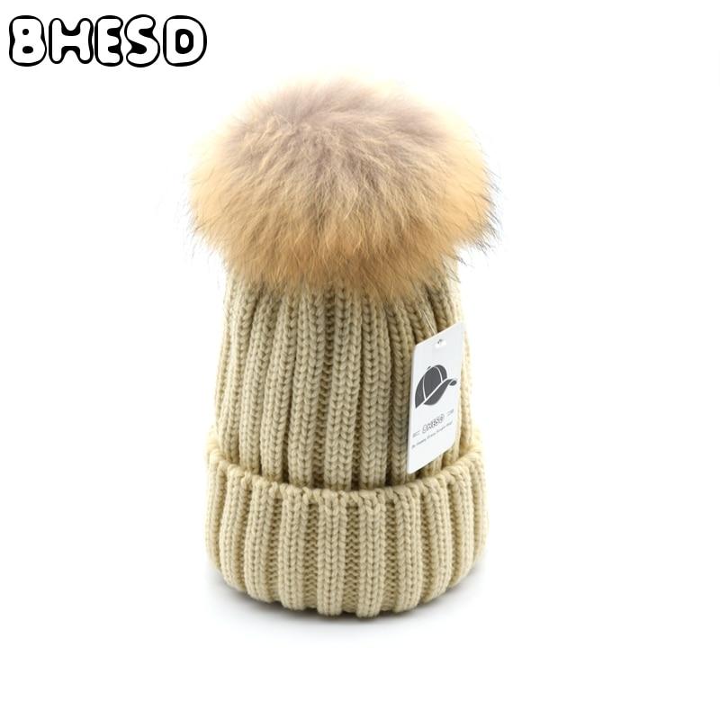 BHESD 2017 Real Raccoon Mink Fur Pompom Winter Beanies Hat Men Women knitted Wool Skullies Children Ski Gorros Cap Autumn TBone