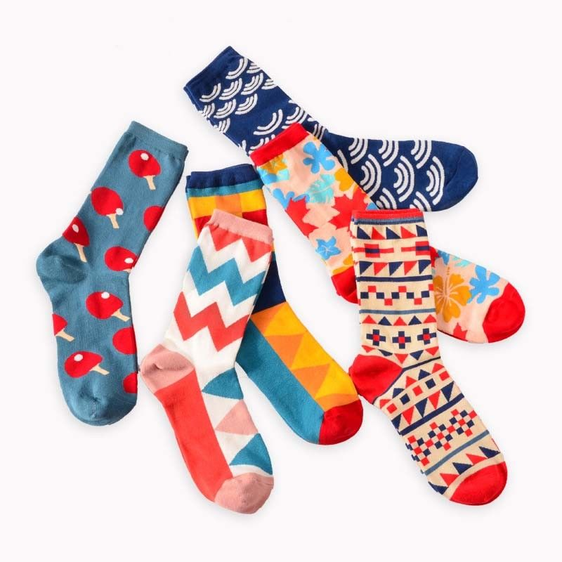 Colour crew cotton happy socks men/women british style casual harajuku designer brand fashion novelty art party favor gift