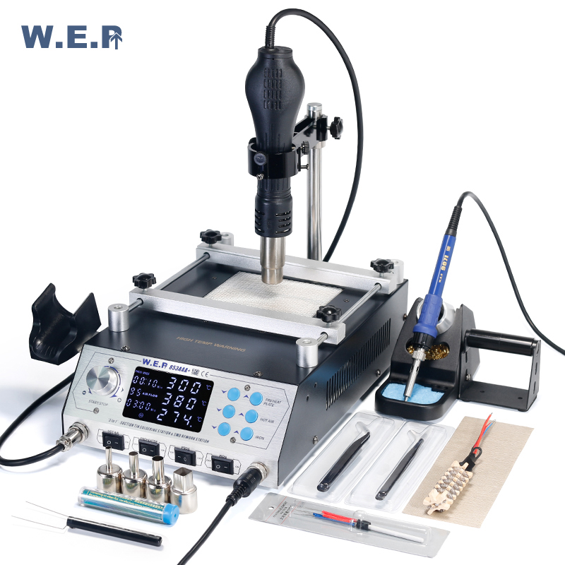 WEP 853AAA+ Program -Controlled BGA Rework Station Automatic Preheating Hot Air Gun Desoldering Solder Iron Soldering Station