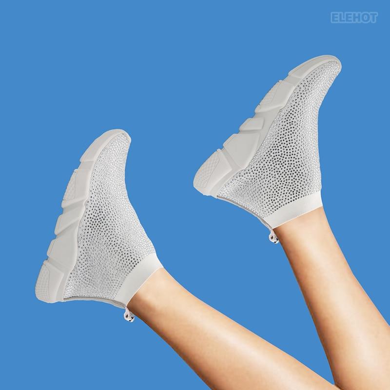 Elehot White Rhinestone Sneakers