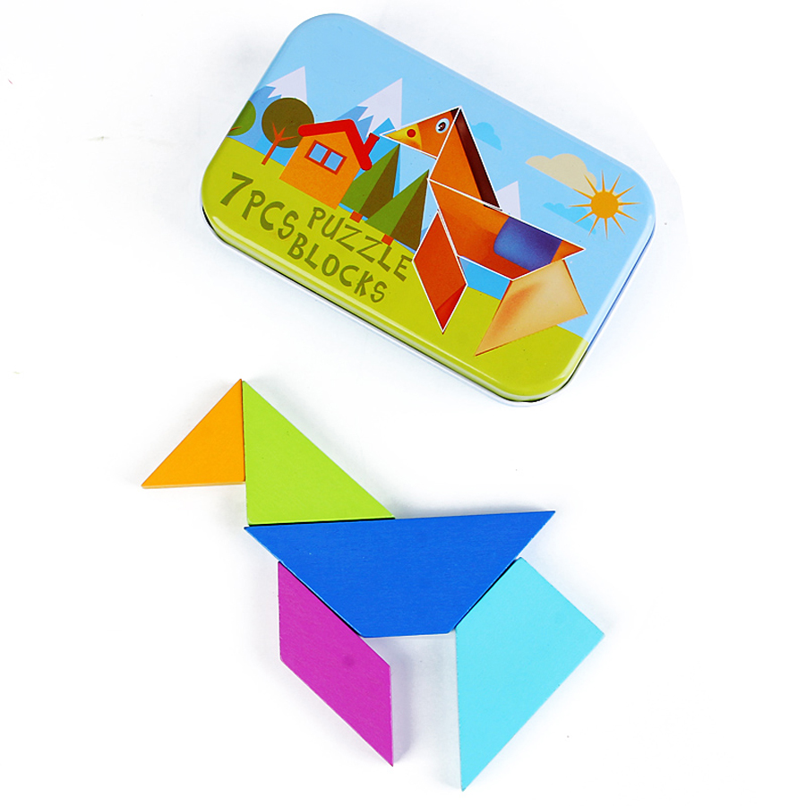 Cartoon Kids Tangram Jigsaw Puzzle Toy Wooden Jigsaw Iq