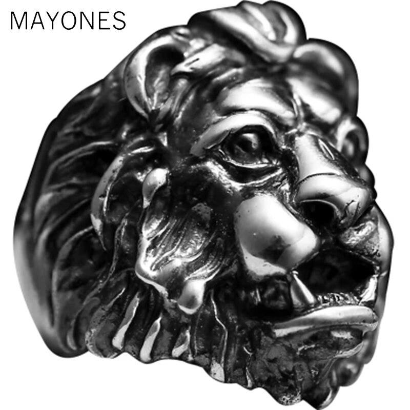 MAYONES luxe S925 en argent Sterling Lion personnalité homme anneaux roi Punk Vintage noir couleur Biker hommes grand lourd gothique bijoux