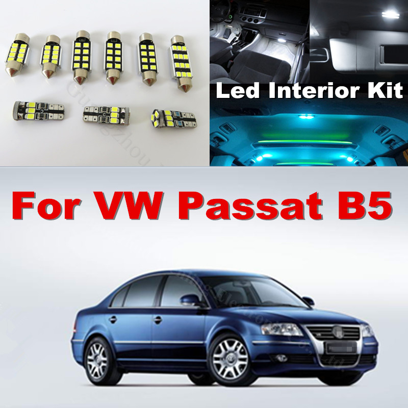WLJH 13x White Ice Blue Canbus LED Dome Mirror Puddle Lamp Light Car Interior Lighting For VW Volkswagen Passat B5 1998-2005 wljh 2x canbus led 20w 1156 ba15s p21w s25 bulb 4014smd car lamp drl daytime running light for volkswagen vw t5 t6 transporter