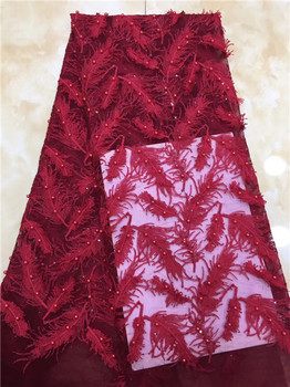 african lace fabric with sequins beads 2018 hot bead fabric high quality red tulle sequins lace fabric for evening dresses X12
