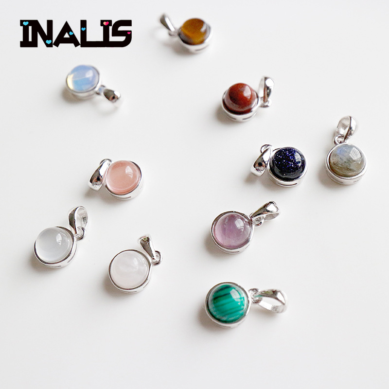 New Luxurious Fine Jewelry S925 Sterling Silver Agate Moonstone Tiger Eye Opal Redstone Sandstone Pendant Without Chain