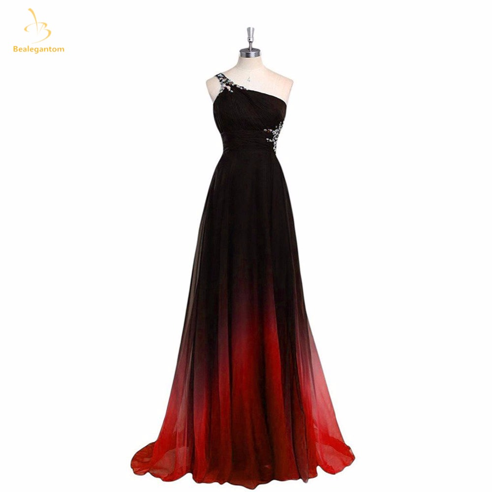 Bealegantom 2018 Sexy Long Gradient Chiffon   Evening     Dresses   With Beaded Lace Up Formal Prom Party Gown Vestido Longo QA1437