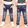 2017 Джинсы Мальчиков, детская одежда модный стиль Весна Осень Дети Джинсовые Брюки, мальчики джинсы, мальчик кожаные джинсы. 17110